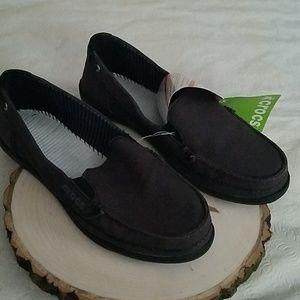CROCS Walnut Brown Canvas Loafer Sz 7 NEW